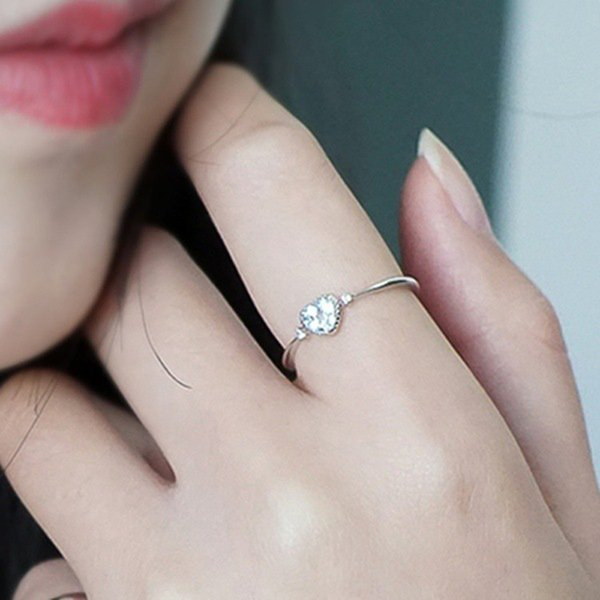 Euramerica Simple Thin Engagement Ring inlaid Blue Heart Shaped Zircon Trendy Chic Wedding Ring for Women Fashion Finger Jewelry