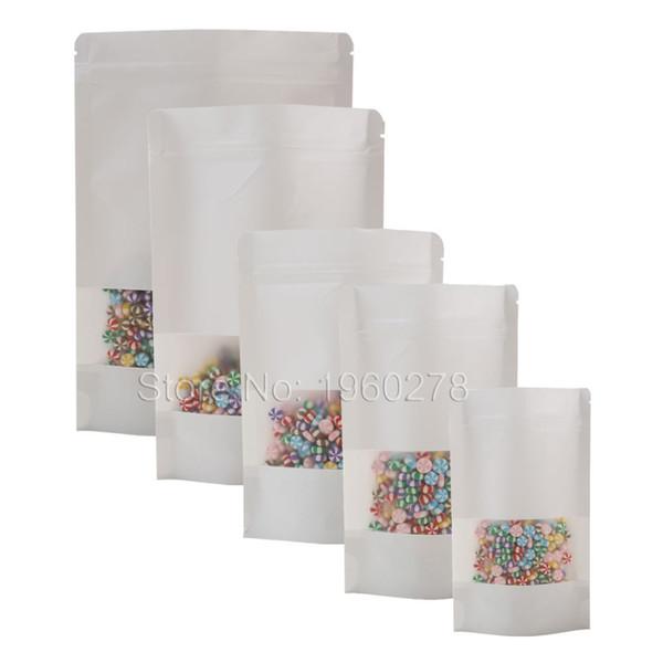 Birçok Boyutları Çentik Mat Pencereli Torbalar Beyaz Zip Kilidi Kraft Kağıt Torba Stand Up Gözyaşı 100pcs