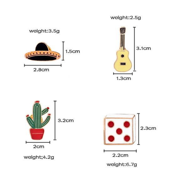 2019 Nouveau mode simple goutte à goutte Creative Cactus Pot Chapeau Guitare Sieve Enfant Cartoon Party Cadeaux Broche