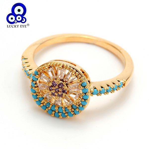 Chanceux Eye Turc Evil Eye CZ Anneau De Luxe Bleu Micro Pave Cubique Zircon Bague De Mariage pour les Femmes Bijoux Femme EY6343