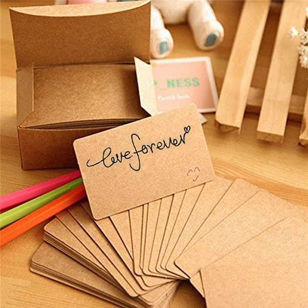 100 Pcs/lot business cards blank Kraft Paper Card Message Memo Party Gift Thank You Cards Label Bookmarks Learning Cards