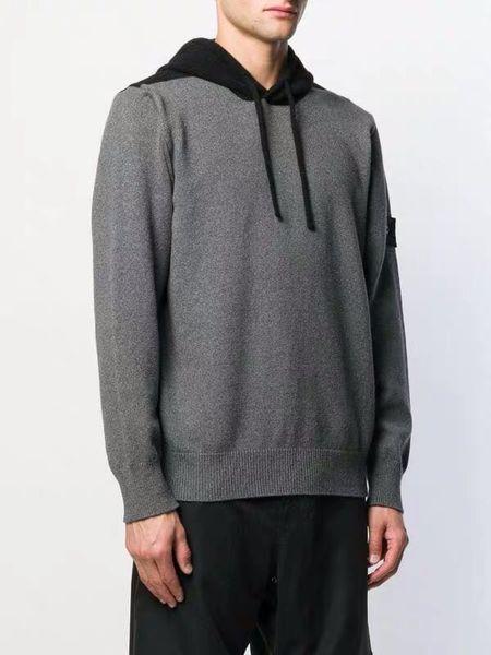 Hommes Hoodies Pull Fashion Marque Gris Brochage Pull Sport sweatshir Badge Manteau à manches longues 8826 Haut Vendeur SI01X