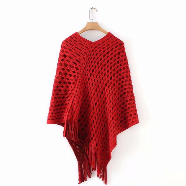 Casual donna scava fuori maglione poncho e capo maglione allentato nappa pullover lavorato a maglia maglioni donne cappotto caldo