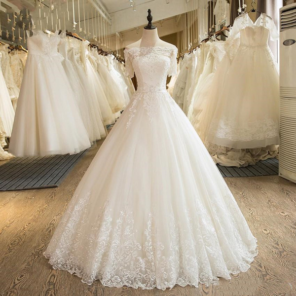 Real Photo Short Shoulder White Ball Gown Wedding Dresses Bridal Gowns 2019 Lace Applique vestito da sposa Wedding Gowns South Africa H036