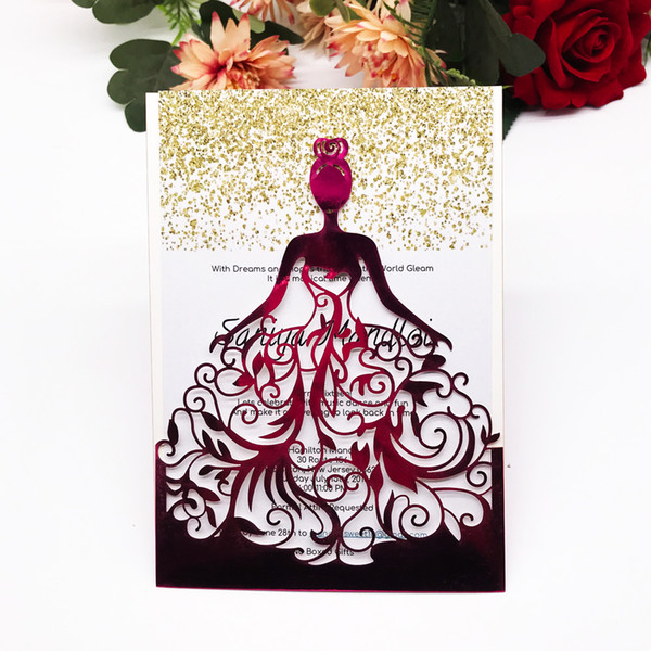 Flamboyance Queen Wedding Invitation Cards Festival Gift Cards Birthday Party Supplies Hollow Laser Cut Colors Invitations Card Wedding Invitations
