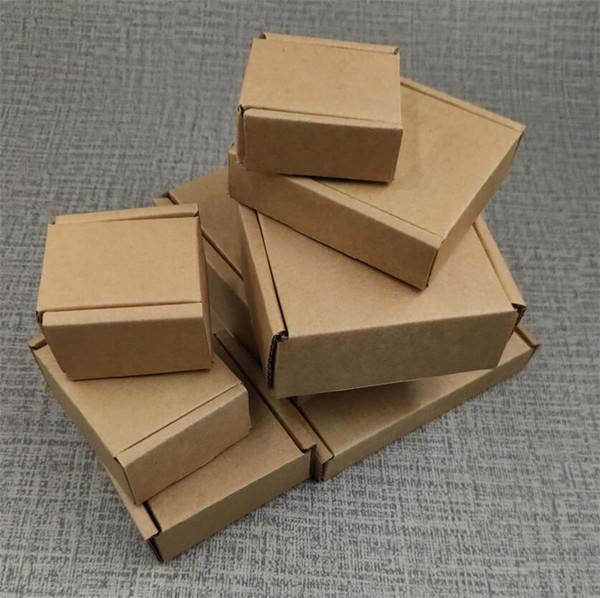 Grand Kraft Papier 50pcs Boîte en carton brun bijoux emballage boîte pour l'expédition Corrugated épaissis papier 17Sizes postaux