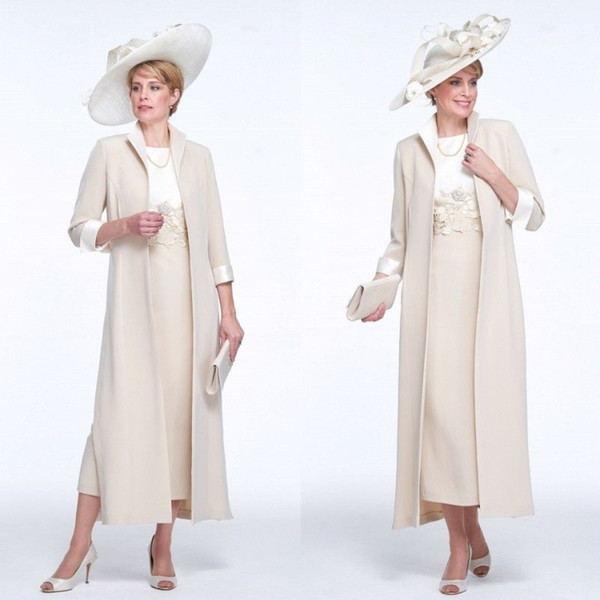 Cream 2019 Tea Length Mother Of the Bride Dress With Long Jacket Plus Size Wedding Guest Dress Evening Party Formal Gowns