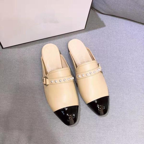2019 кожаные мокасины дизайнерские туфли тапочки с пряжкой модные женские тапочки женские повседневные квартиры mf190529