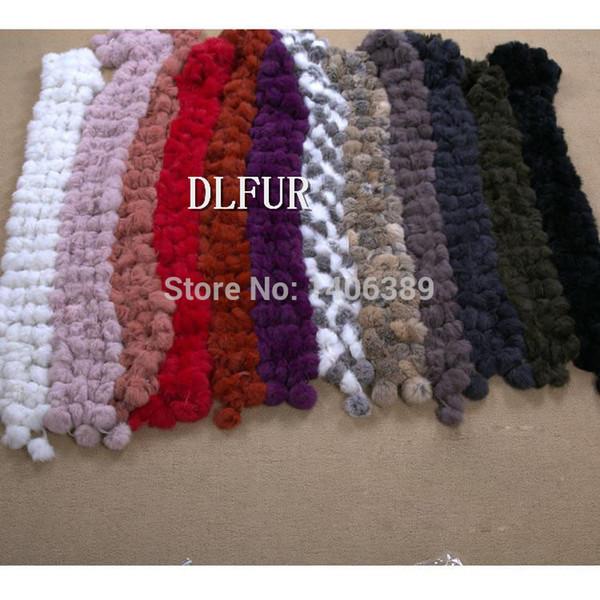 DL6052 Free Shipping Cheap Rabbit Fur Scarf For Women Natural Rabbit Fur Ball Scarves Women Winter Warm Scarf