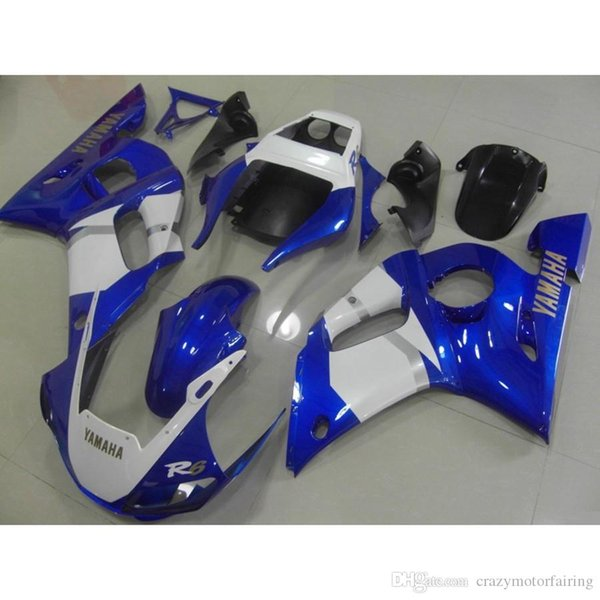 3 Free gifts New ABS Fairing Kits 100% Fitment For YAMAHA YZF-R6 98-02 YZF600 1998 1999 2000 2001 2002 bodywork set blue white light!