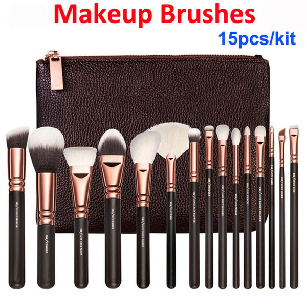 Makeup bru he kit 15pc ro e gold bru h bag profe ional face and eye hadow make up tool eyeliner powder foundation blending bru h et