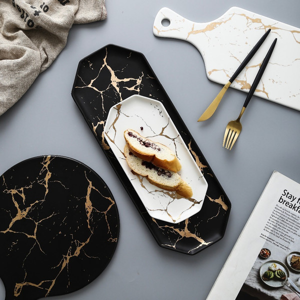 D'Oro europea Bianco Nero vasellame in ceramica e piastra pizza dessert Steak Dinner di porcellana da tavola decorativa Food Tray T191218