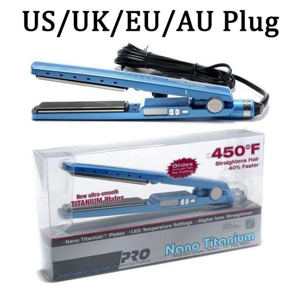 top popular In Stock!! PRO 450F 1 1 4 Plate Titanium Hair Straightener Straightening Irons Flat Iron Hair Curler US EU UK AU Plugs 2020
