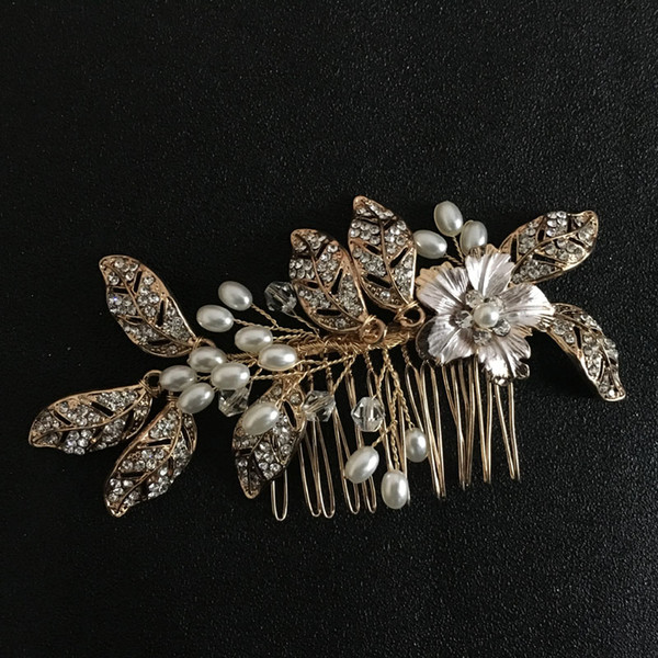 wholesale Handmade Crystals Rhinestones Pearls Flower Wedding Jewelry Hair Comb Bridal Hair Accessories Bridesmaids Headpieces