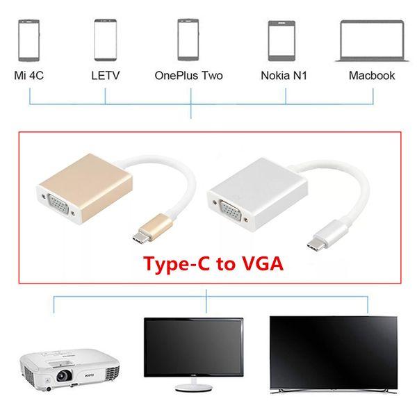 Laptop Video USB-C VGA Adaptörü USB 3.1 Tip C USB-C Kadın Macbook Chromebook Piksel Lumia için Kadın VGA Adaptör Kablosu TV