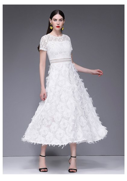 White Sling Elegant Dress Long Summer Nuovo prodotto Fringe Feather Design Hollow Out Lace Vintage A Line Fairy Dresses For Women