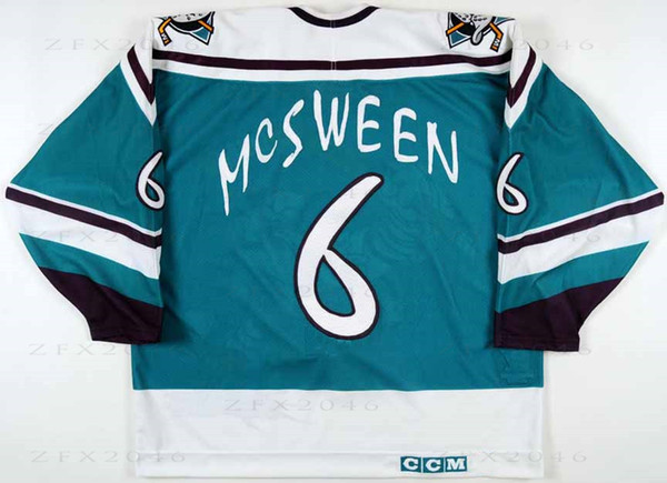 buy online 80b5e cdf44 2019 Custom 1995 96 Don McSween Anaheim Mighty Ducks Game Worn Hockey  Jersey Wild Wing Alternate Team Letter Stitched Logos Embroidered From  Zfx2046, ...
