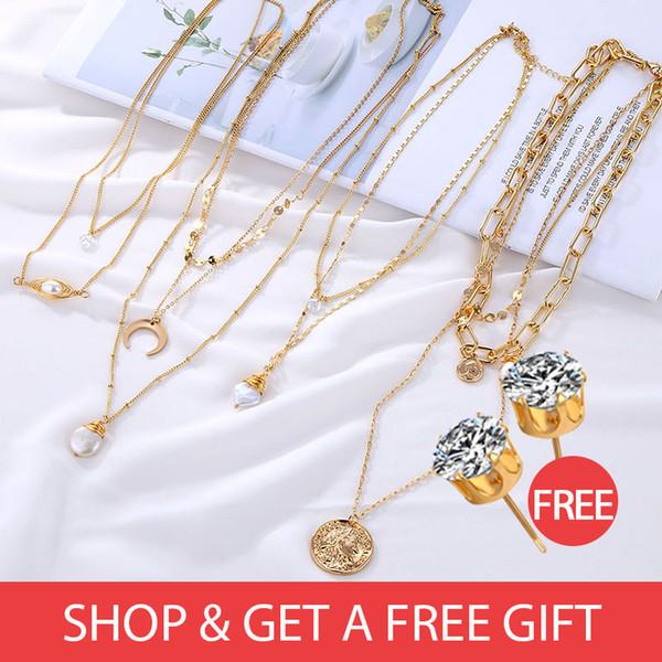 Acheter 1 obtenir 1 Pendentif multicouche pour femmes collier de perles de perle naturelle naturelle collier Vintage Gold BOHEMIA Gift