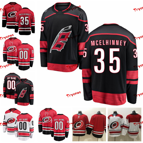 2019 Carolina Hurricanes Curtis McElhinney Stitched Jerseys Customize Alternate Black Shirts 35 Curtis McElhinney Hockey Jerseys S-XXXL