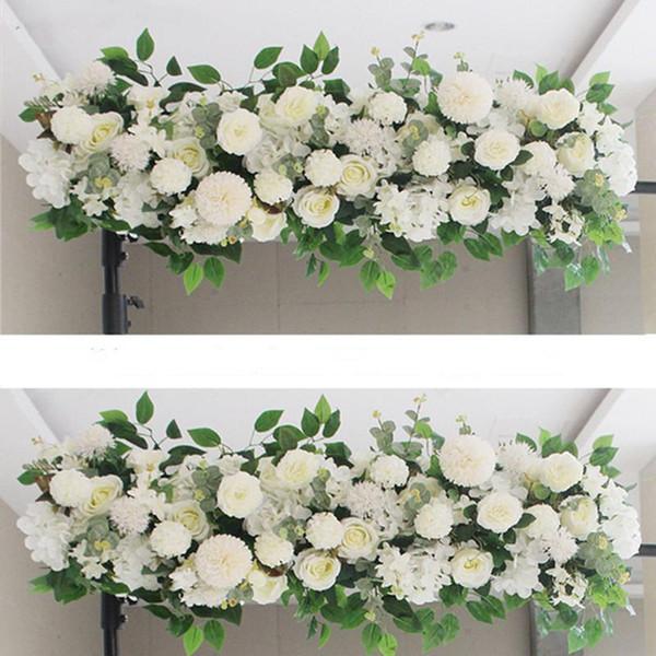 50 / 100cm DIY de la pared flor de la boda Suministros Arreglo seda Peonías Rose de la flor artificial Fila decoración de la boda del hierro Arco Telón de fondo