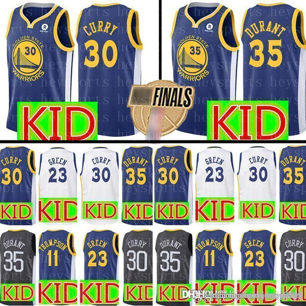 the latest fec0c cc0b4 2019 New KID Curry Warriors Jersey Top Youth 30 Stephen # Curry 35 Kevin #  Durant 11 Klay # Thompson Draymond 23 Green Jerseys From Big_red_shop, ...