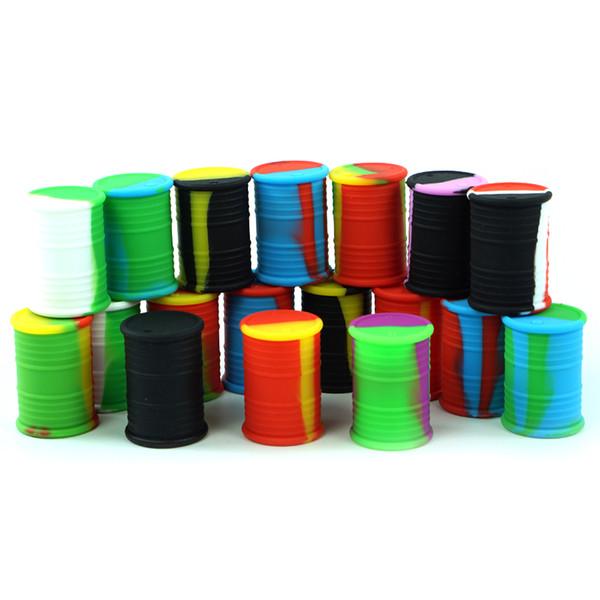 Stock negli Stati Uniti! Contenitore di forma del tamburo all'ingrosso 10pcs / Lot Grado antiaderente Food Dabs contenitori di vaso di cera secca erba scatola di immagazzinaggio del silicone