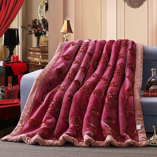 Super soft spessore Fluffy Fuzzy Mink Blanket Double Layer Home Decor Gettare Queen Size ricamato caldi Raschel Wedding Coperte
