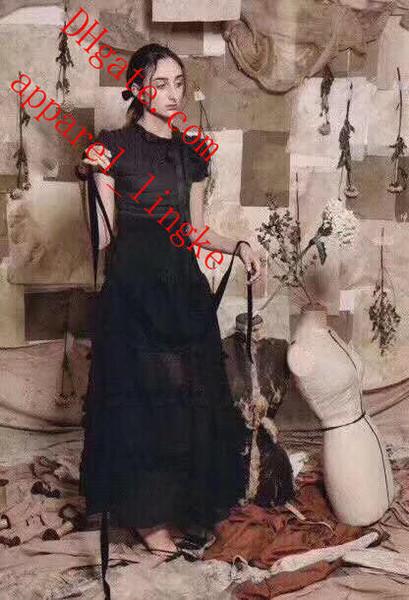 2019 핫 세일 여름 드레스 새로운 블랙 주름 장식 된 라미 메쉬 거즈 무성한 높은 허리 스커트 맥시 스커프 최고 품질의 여성 의류 WW - 3