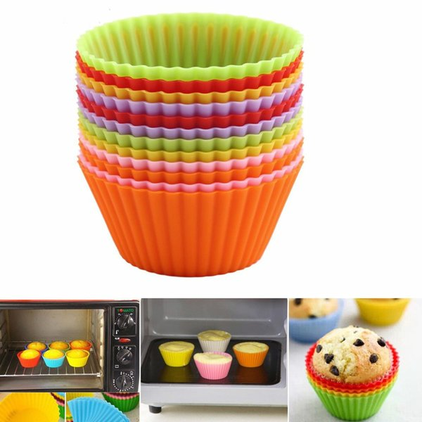 Silicone Muffin Cupcakes Cake Cups Forms Liners Mold for Baking Bakery Pastry Tool -Round Shape