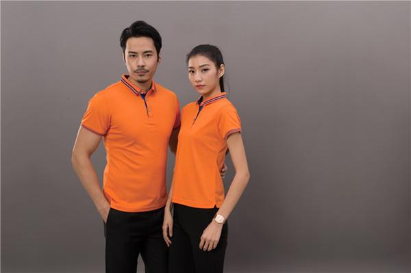 Keten boncuk T-shirt polo gömlek özel iş elbiseleri logosu erkekler ve kadınlar pamuk yaka kısa kollu kültürel reklam gömlek