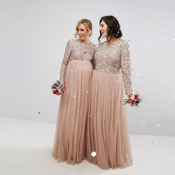 Cheap Champagne Sequined Bridesmaid Dresses