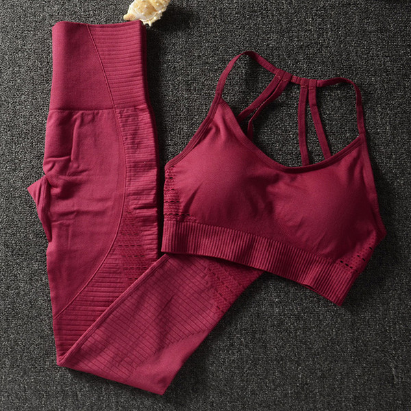 top popular Women Yoga Set Seamless Fitness Clothing Sportswear Woman Gym Leggings Padded Push-up Strappy Sports Bra 2 Pcs Sports Suits Y047 2020
