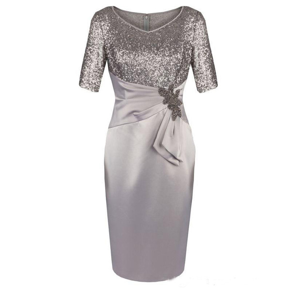 Half Sleeves V Neck Sequins Knee Length Mother of the Bride Dresses For Wedding Evening Party Gowns Mother of the groom Dresses