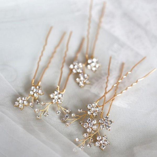 Jonnafe обуви ювелирных изделий Rhinestone Цветочный Свадебные заколки для волос Набор Золото Серебро Цвет волос Свадебные аксессуары