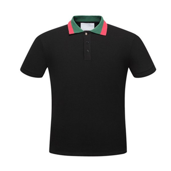 Italy Designs 19ss Solid Cotton Polo with Web Collar Embroidery Bee Men Polo Shirt Collar Polos Mens T Shirts Clothing Shorts Poloshirt G303