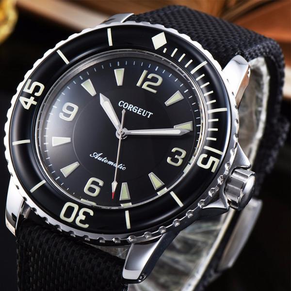 45mm Black dial green super luminous Leather Strap Miyota 8215 Automatic Men Wrist Watch