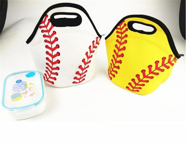 Neoprene Baseball Lunch Tote Bag Sacos De Piquenique De Softbol Esportes Cooler Sacos de Comida Saco Ao Ar Livre Food Transportadora Saco De Armazenamento À Prova D 'Água Bolsa 2 Cor