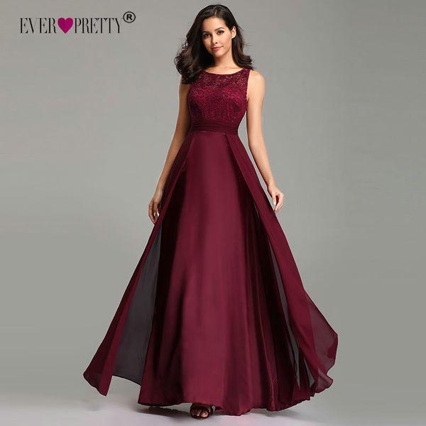 Compre Elegantes Vestidos De Baile Largos 2019 Siempre Bonitos Ez07695 Sexy A Line Sin Mangas Con Cuello En O Gasa Encaje Vestidos De Fiesta De Noche