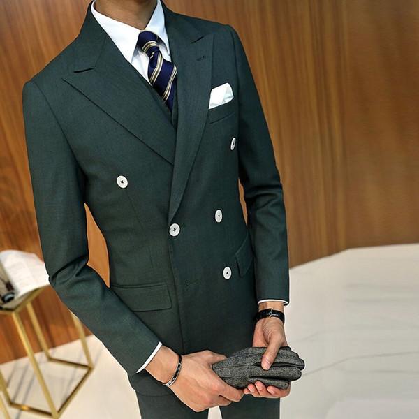Side Slit Double Breasted Olive Green Wedding Groom Tuxedos Peak Lapel Groomsmen Men Suits Prom Blazer (Jacket+Pants+Vest)