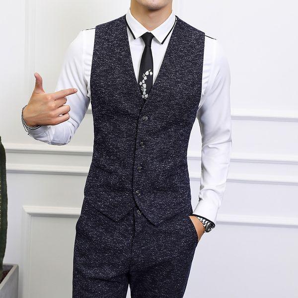 2019 vest men + pant business casual mens waistcoat and trousers asia size s-6xl men vests