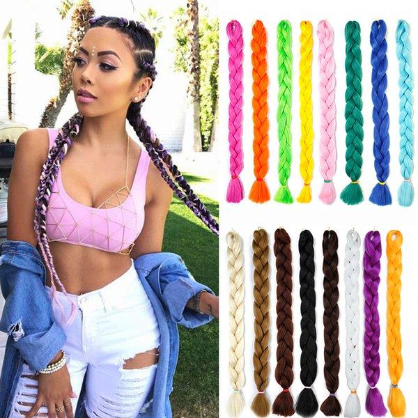 top popular Xpression Braiding Hair 82 inches 165g  pack Synthetic Kanekalon Crochet Braids Hair Single Color Jumbo Braiding Hair Extensions 2020