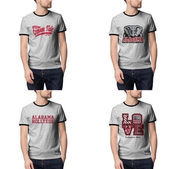 time de futebol americano Alabama logotipo Shirts Men Verão cinza Camiseta Undershirt clássica da faculdade Campeão Miller s 58 broncos MILLER BOLA