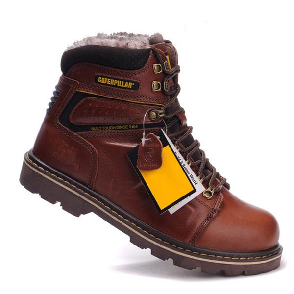 Botas de la nieve del invierno los zapatos de trabajo de cuero de vaca de los hombres al aire libre Senderismo Escalada de goma inferior Mantener Caliente botas de trabajo segura para el hombre