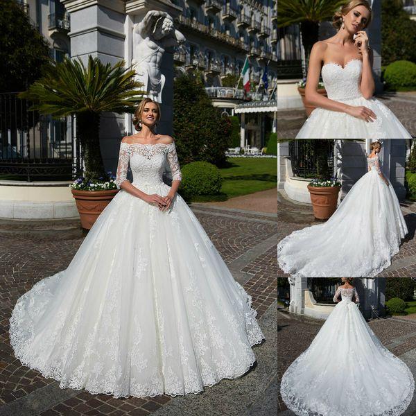 Lussano Bridal 2019 Wedding Dresses with Jacket Lace Appliques Bridal Gowns Sweep Train Ball Gown Garden Wedding Dress robe de mariée