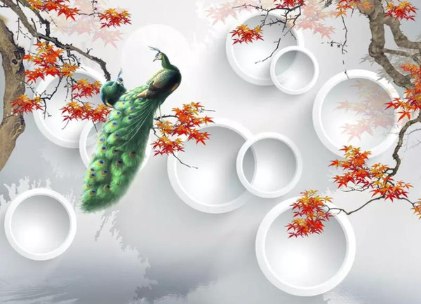 classic wallpaper for walls New Chinese original hand-painted red leaf green peacock 3D background wall