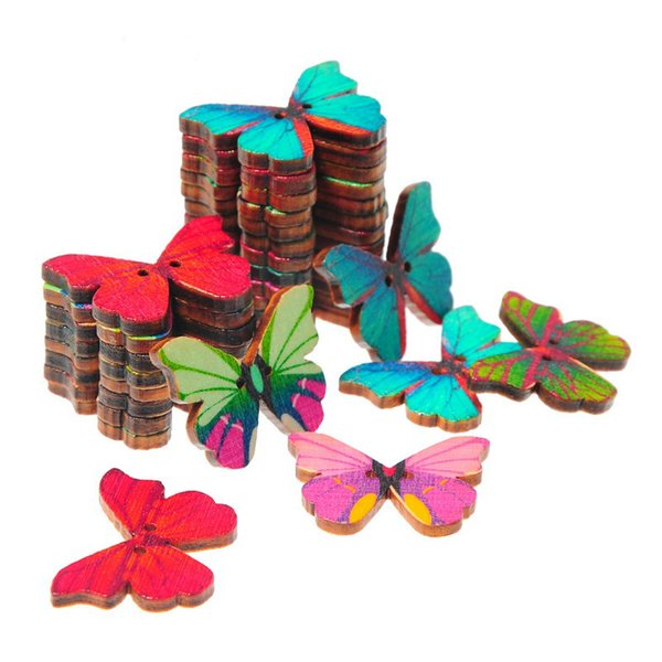 50pcs 2 hole mixed color retro vintage handmade cartoon butterfly wooden craft sewing buttons DIY handmade decorative buttons