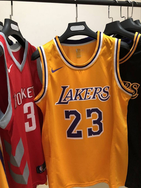 quality design ec453 fdc7d 2019 2020 New Mens Laker 23# LeBron James Retro Yellow Swingman Basketball  Jersey Name And Number Hot Pressing Printed Authentic US Size XXS XXL From  ...