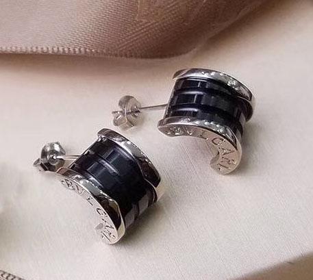 Silver+black earring