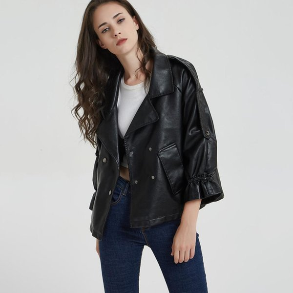 2019 Winter Autumn Women Leather Turn-Down Collar Rivet Flare Sleeve PU Motorcycle Vintage Casual Jacket Black Leather Jackets