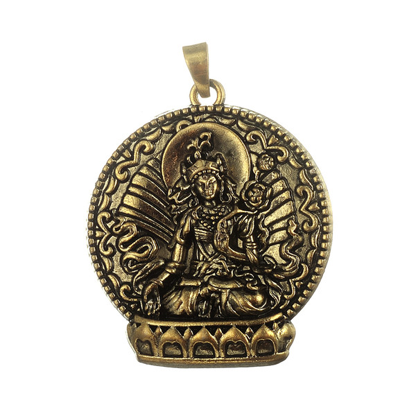 Myshape 4pcs Antique Bronze Buddha necklace charm Buddhist Meditation Hinduism Zazen pendants large metal religious Jewelry